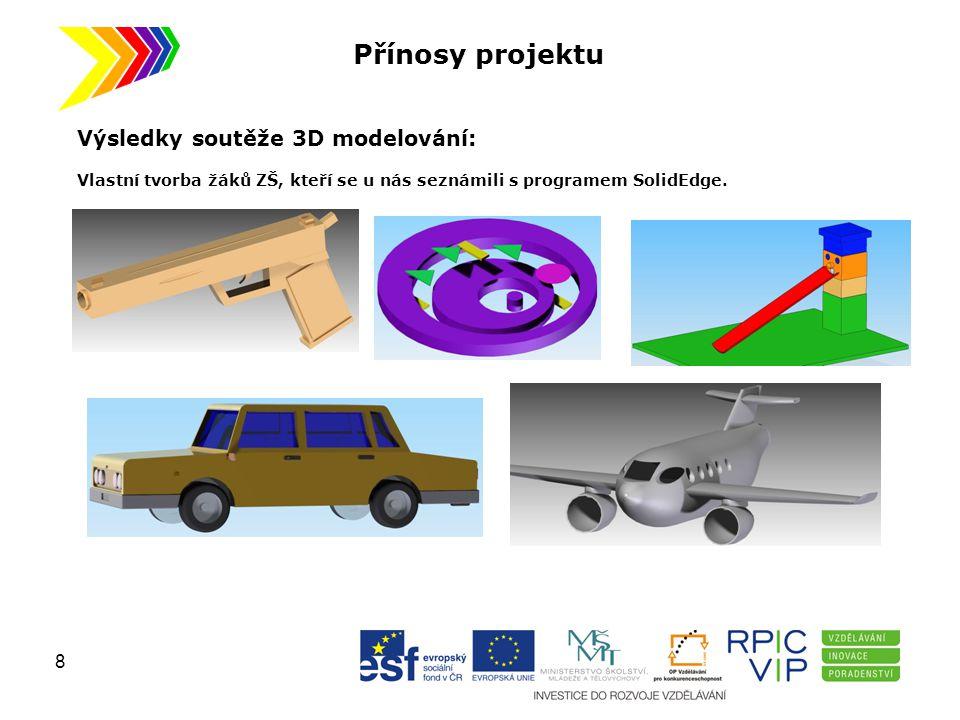 Přínosy projektu Výsledky soutěže 3D modelování: Vlastní tvorba žáků ZŠ, kteří se u nás seznámili s programem SolidEdge. 8