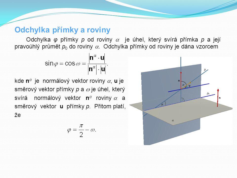 Odchylka přímky a roviny Odchylka φ přímky p od roviny  je úhel, který svírá přímka p a její pravoúhlý průmět p 0 do roviny . Odchylka přímky od rov