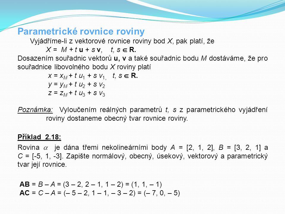 Parametrické rovnice roviny Vyjádříme-li z vektorové rovnice roviny bod X, pak platí, že X = M + t u + s v, t, s  R. Dosazením souřadnic vektorů u, v