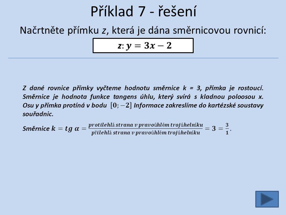 Příklad 7 - řešení Načrtněte přímku z, která je dána směrnicovou rovnicí: