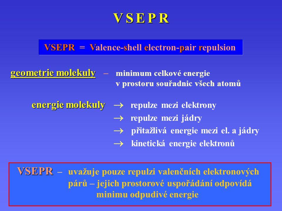 V S E P RV S E P RV S E P RV S E P R VSEPR VSEPR = Vs Valence-shell ep electron-pair r repulsion geometrie molekuly geometrie molekuly – minimum celkové energie v prostoru souřadnic všech atomů energie molekuly energie molekuly  repulze mezi elektrony  repulze mezi jádry  přitažlivá energie mezi el.