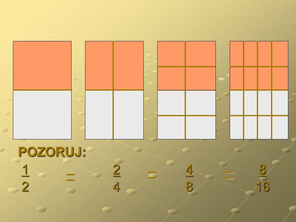1 2 4 8 2 4 8 16 1 2 4 8 2 4 8 16 *8 *4 *8 *4 1 8 2 8 2 16 4 16 2 16 4 16 *8 *4 *8 *4 Rozšiřovat zlomek znamená násobit čitatele i jmenovatele zlomku stejným číslem, různým od nuly.