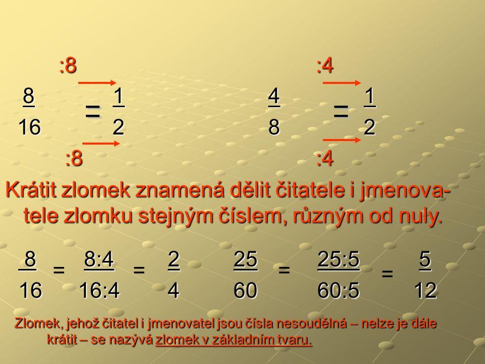 :8 :4 :8 :4 8 1 4 1 8 1 4 1 16 2 8 2 16 2 8 2 :8 :4 :8 :4 Krátit zlomek znamená dělit čitatele i jmenova- tele zlomku stejným číslem, různým od nuly.