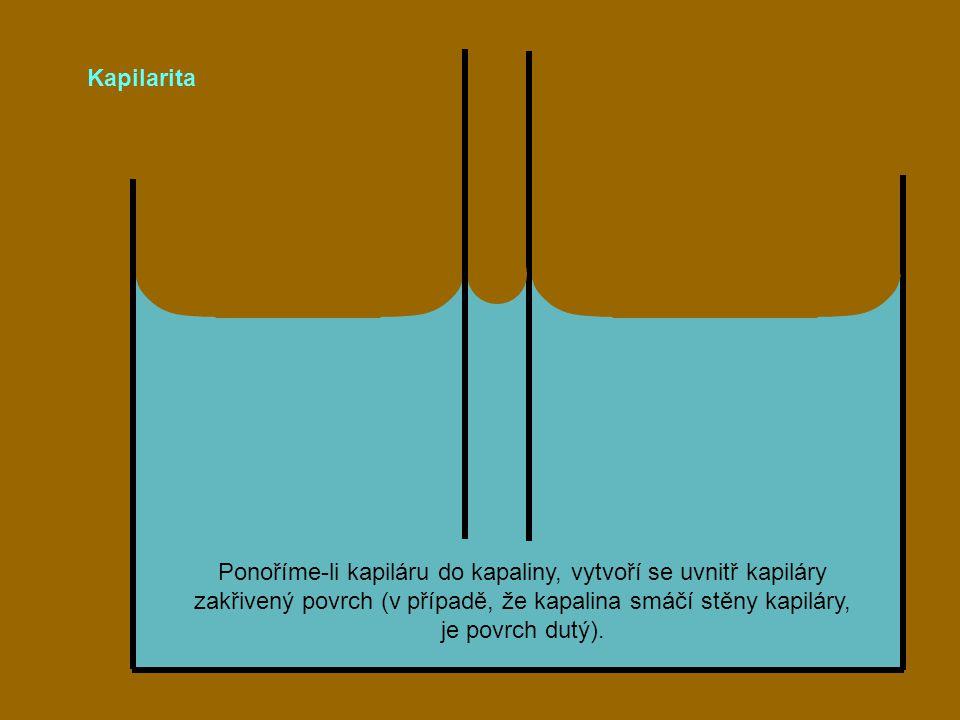 Kapilarita Ponoříme-li kapiláru do kapaliny, vytvoří se uvnitř kapiláry zakřivený povrch (v případě, že kapalina smáčí stěny kapiláry, je povrch dutý)