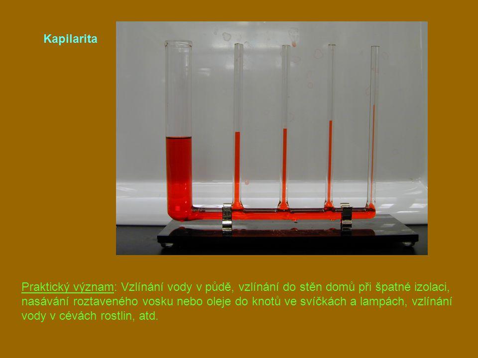 Kapilarita Praktický význam: Vzlínání vody v půdě, vzlínání do stěn domů při špatné izolaci, nasávání roztaveného vosku nebo oleje do knotů ve svíčkác