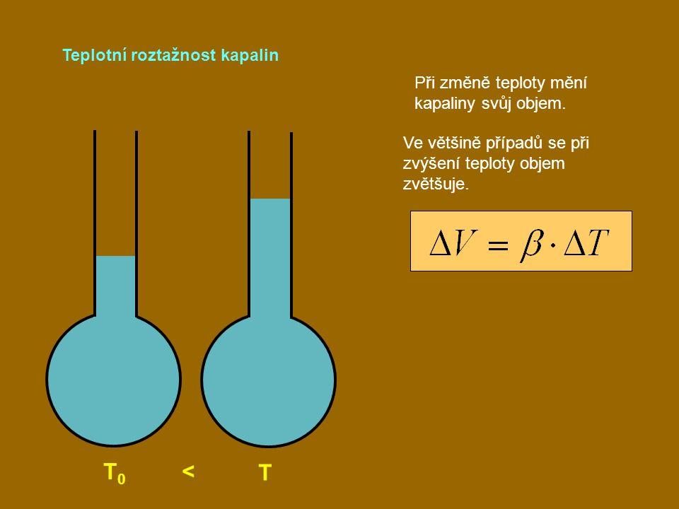 Teplotní roztažnost kapalin T 0 < T Při změně teploty mění kapaliny svůj objem. Ve většině případů se při zvýšení teploty objem zvětšuje.