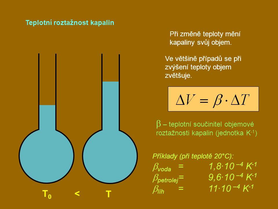 Teplotní roztažnost kapalin T 0 < T Při změně teploty mění kapaliny svůj objem. Ve většině případů se při zvýšení teploty objem zvětšuje.  – teplotní