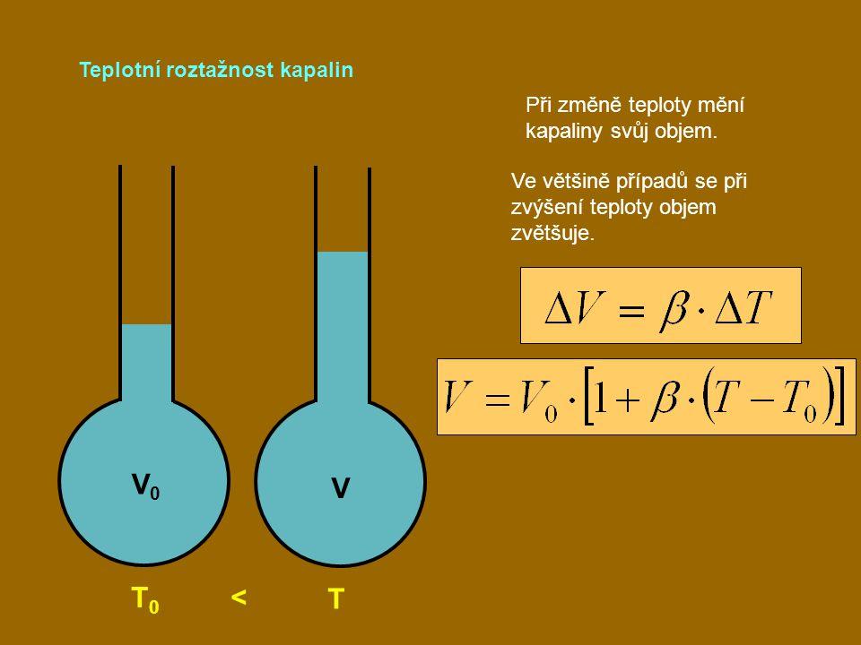 Teplotní roztažnost kapalin T 0 < T Při změně teploty mění kapaliny svůj objem. Ve většině případů se při zvýšení teploty objem zvětšuje. V0V0 V