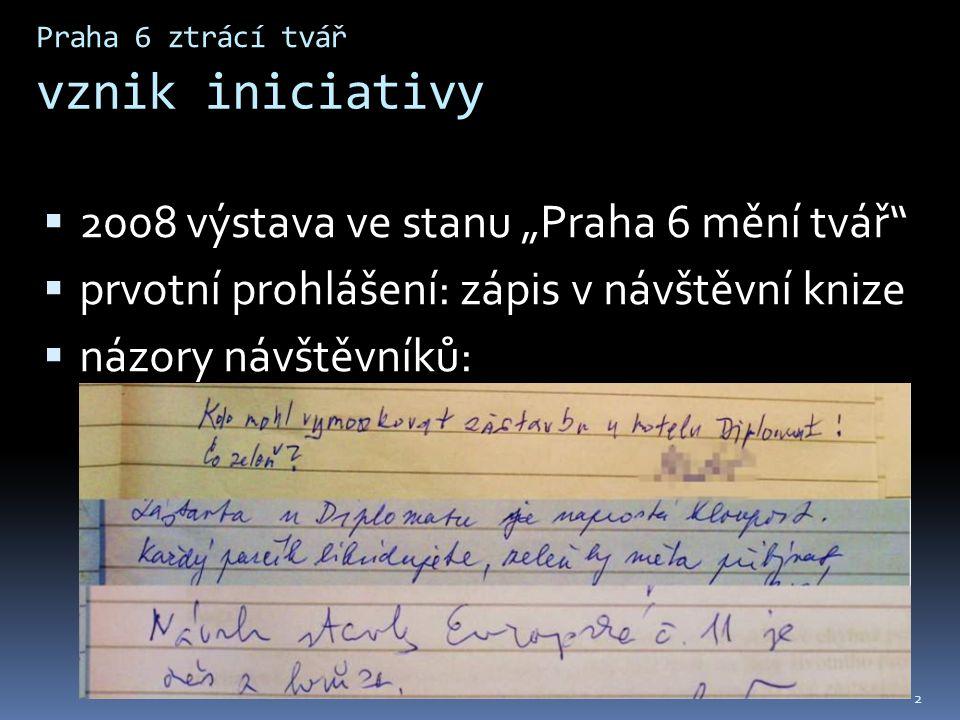 """Praha 6 ztrácí tvář vznik iniciativy  2008 výstava ve stanu """"Praha 6 mění tvář  prvotní prohlášení: zápis v návštěvní knize  názory návštěvníků: 2"""
