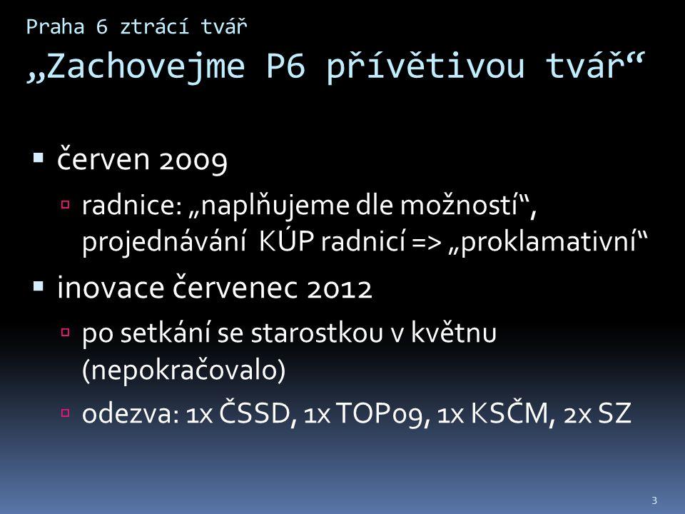 """Praha 6 ztrácí tvář """"Zachovejme P6 přívětivou tvář  červen 2009  radnice: """"naplňujeme dle možností , projednávání KÚP radnicí => """"proklamativní  inovace červenec 2012  po setkání se starostkou v květnu (nepokračovalo)  odezva: 1x ČSSD, 1x TOP09, 1x KSČM, 2x SZ 3"""