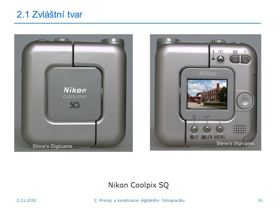 2.11.20102. Princip a konstrukce digitálního fotoaparátu10 2.1 Zvláštní tvar Nikon Coolpix SQ