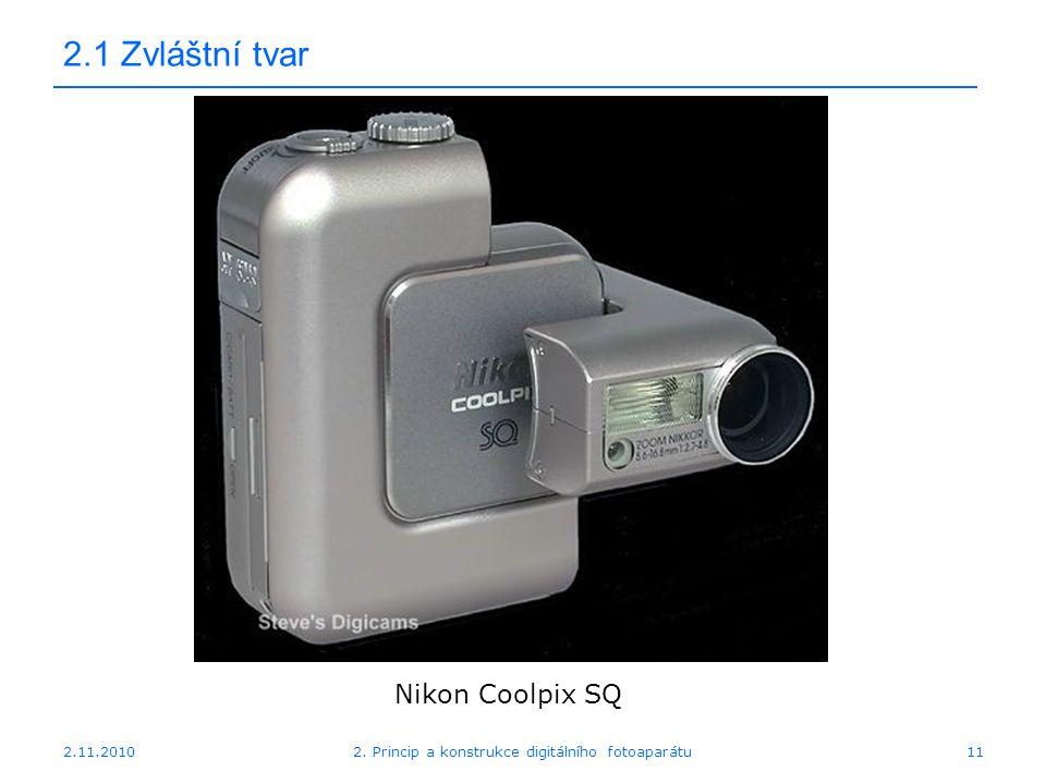 2.11.20102. Princip a konstrukce digitálního fotoaparátu11 2.1 Zvláštní tvar Nikon Coolpix SQ