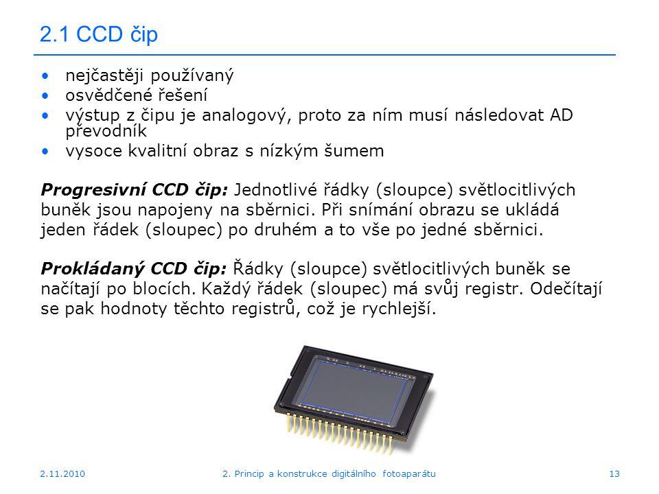 2.11.20102. Princip a konstrukce digitálního fotoaparátu13 2.1 CCD čip nejčastěji používaný osvědčené řešení výstup z čipu je analogový, proto za ním