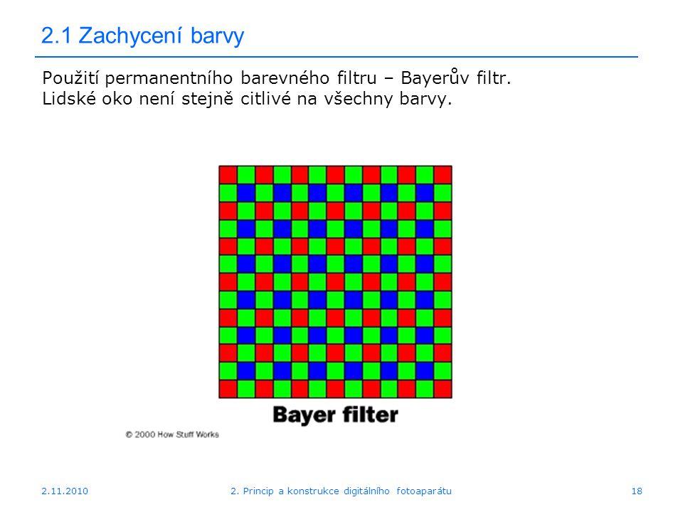 2.11.20102. Princip a konstrukce digitálního fotoaparátu18 2.1 Zachycení barvy Použití permanentního barevného filtru – Bayerův filtr. Lidské oko není
