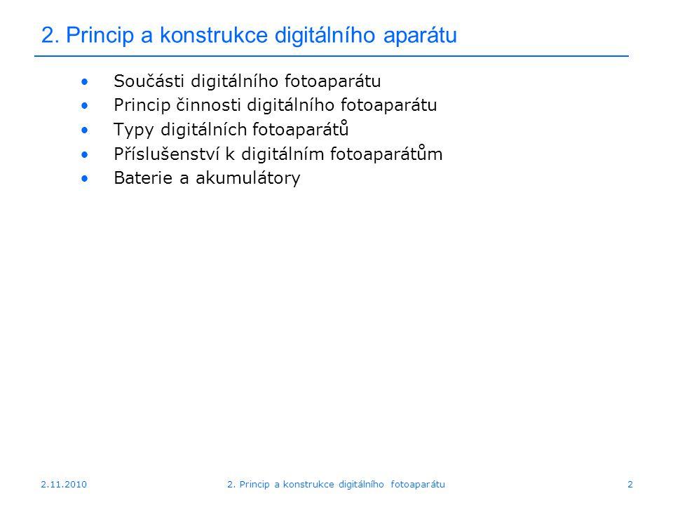 2.11.20102. Princip a konstrukce digitálního fotoaparátu2 2. Princip a konstrukce digitálního aparátu Součásti digitálního fotoaparátu Princip činnost