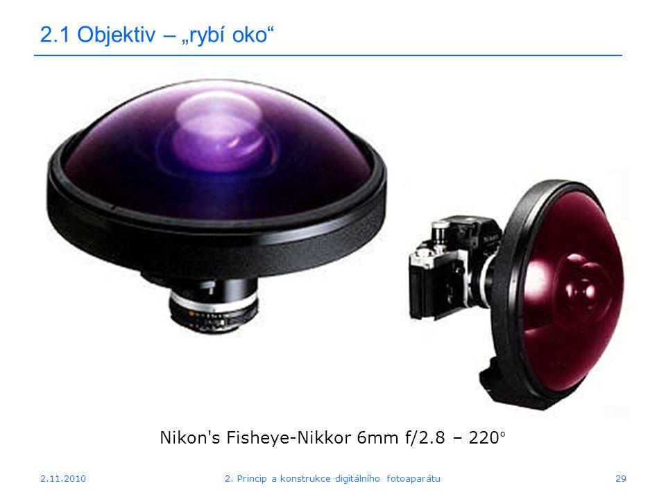 """2.11.20102. Princip a konstrukce digitálního fotoaparátu29 2.1 Objektiv – """"rybí oko"""" Nikon's Fisheye-Nikkor 6mm f/2.8 – 220°"""