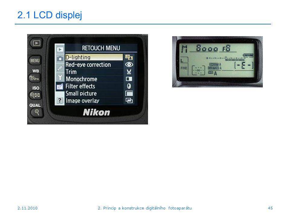 2.11.20102. Princip a konstrukce digitálního fotoaparátu45 2.1 LCD displej