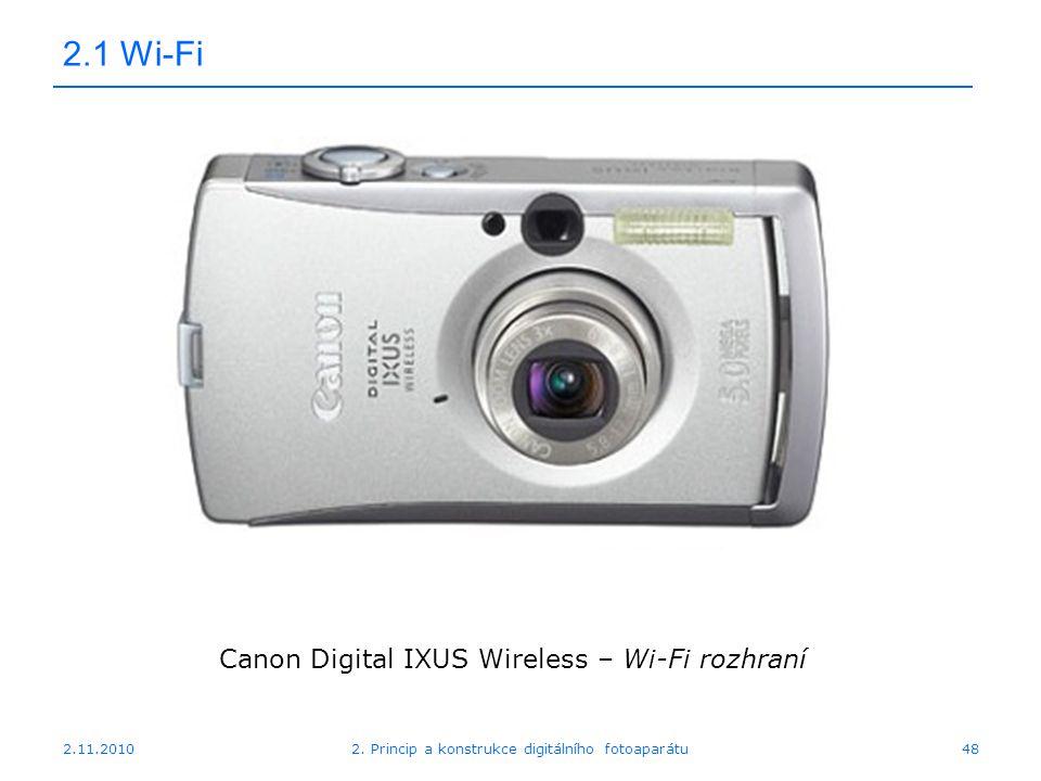 2.11.20102. Princip a konstrukce digitálního fotoaparátu48 2.1 Wi-Fi Canon Digital IXUS Wireless – Wi-Fi rozhraní