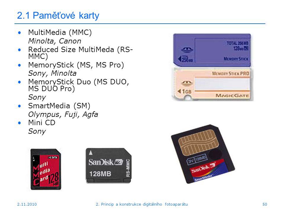 2.11.20102. Princip a konstrukce digitálního fotoaparátu50 2.1 Paměťové karty MultiMedia (MMC) Minolta, Canon Reduced Size MultiMeda (RS- MMC) MemoryS
