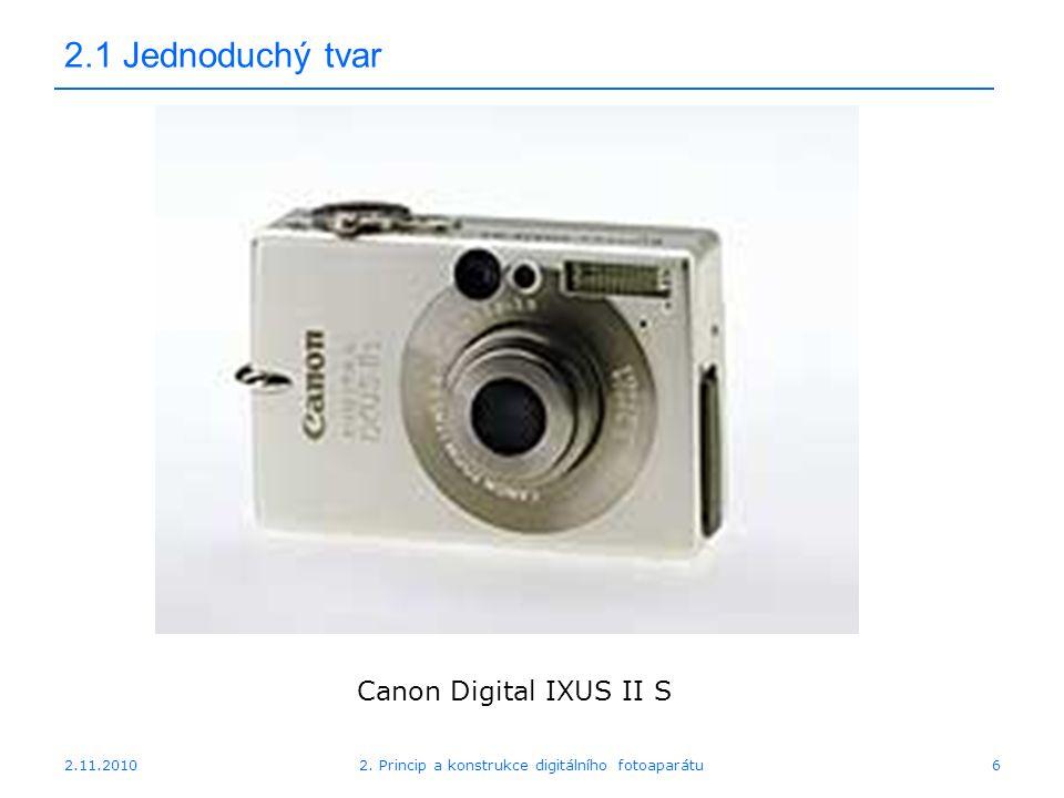 2.11.20102. Princip a konstrukce digitálního fotoaparátu6 2.1 Jednoduchý tvar Canon Digital IXUS II S