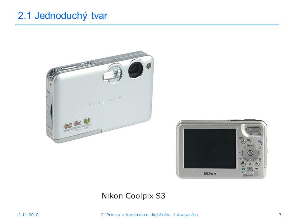 2.11.20102. Princip a konstrukce digitálního fotoaparátu7 2.1 Jednoduchý tvar Nikon Coolpix S3