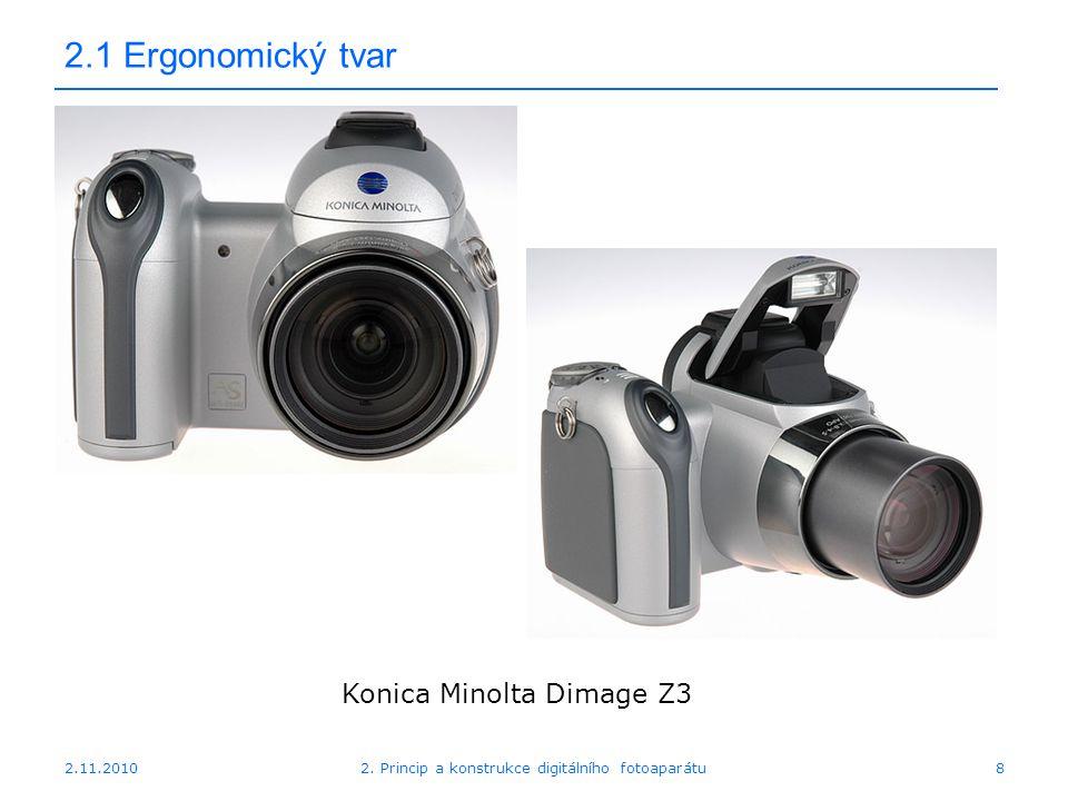 2.11.20102. Princip a konstrukce digitálního fotoaparátu8 2.1 Ergonomický tvar Konica Minolta Dimage Z3