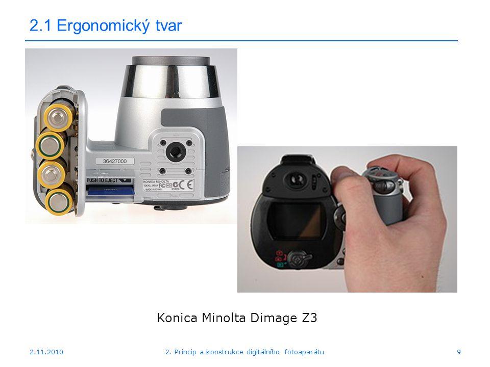 2.11.20102. Princip a konstrukce digitálního fotoaparátu9 2.1 Ergonomický tvar Konica Minolta Dimage Z3