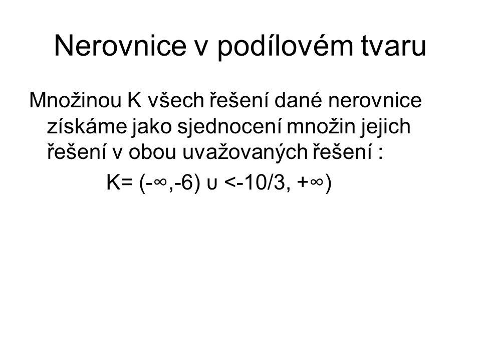 Nerovnice v podílovém tvaru Množinou K všech řešení dané nerovnice získáme jako sjednocení množin jejich řešení v obou uvažovaných řešení : K= (-∞,-6)