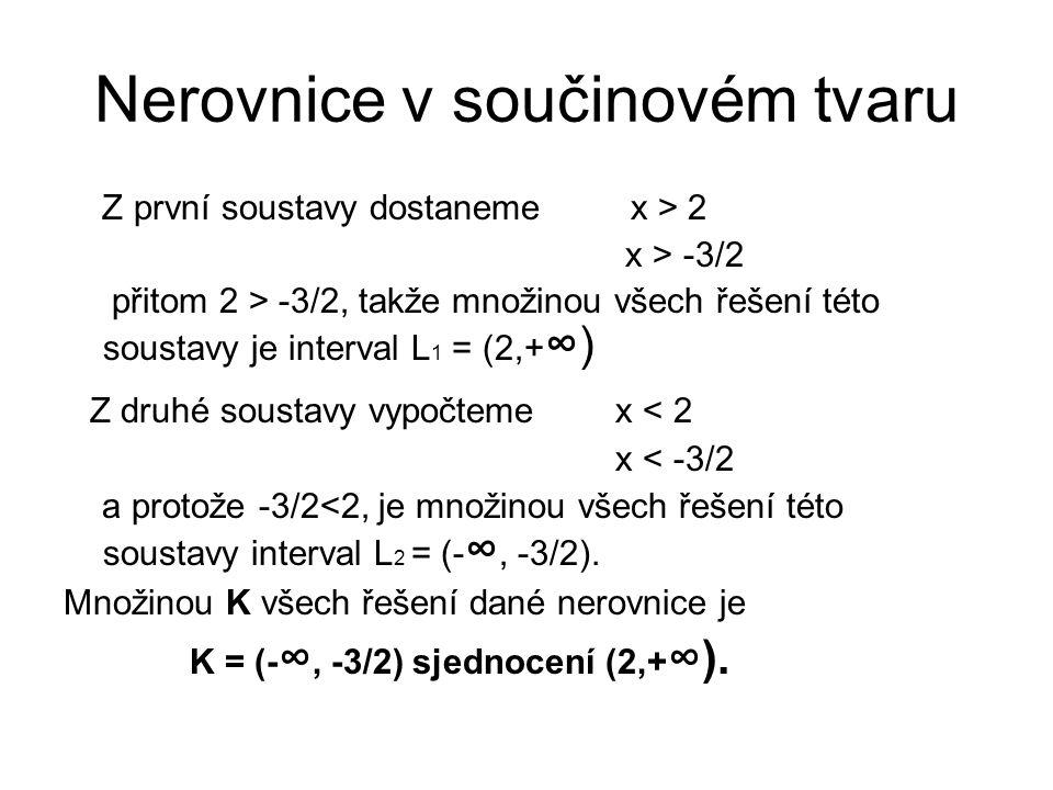 Nerovnice v součinovém tvaru Z první soustavy dostaneme x > 2 x > -3/2 přitom 2 > -3/2, takže množinou všech řešení této soustavy je interval L 1 = (2
