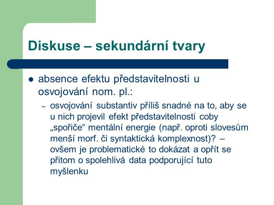 Diskuse – sekundární tvary absence efektu představitelnosti u osvojování nom. pl.: – osvojování substantiv příliš snadné na to, aby se u nich projevil