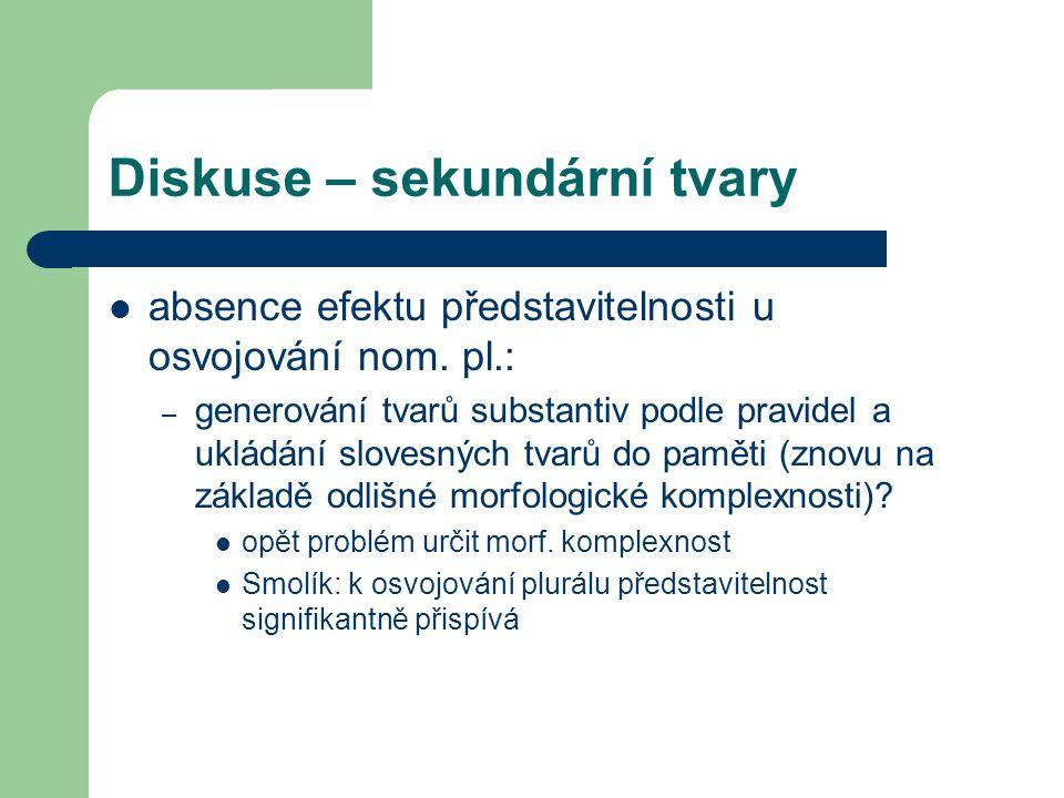 Diskuse – sekundární tvary absence efektu představitelnosti u osvojování nom. pl.: – generování tvarů substantiv podle pravidel a ukládání slovesných