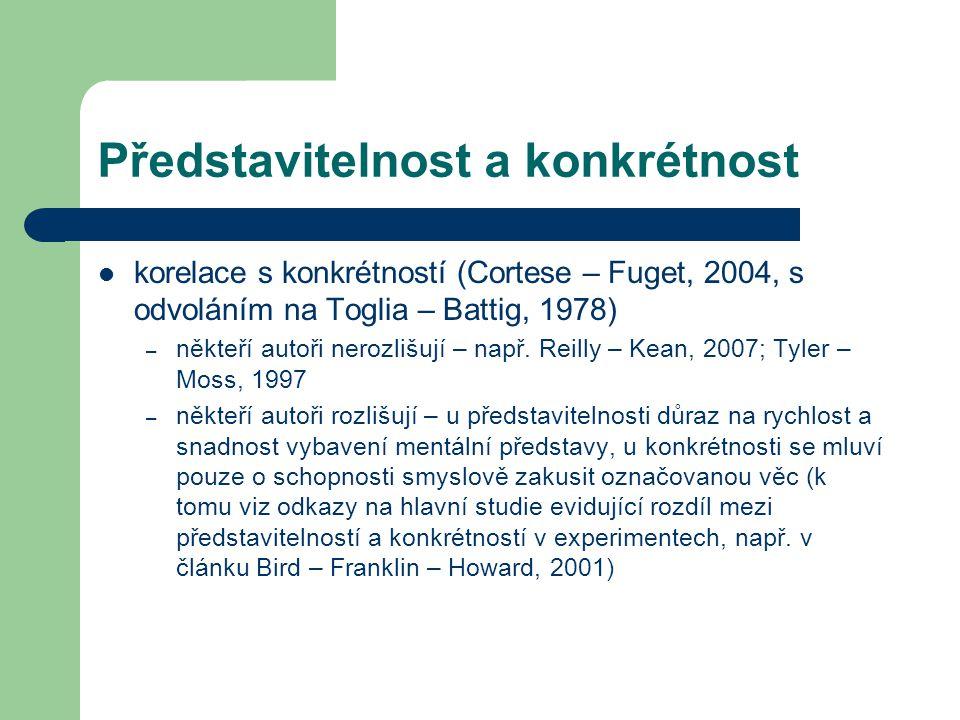 Představitelnost a konkrétnost korelace s konkrétností (Cortese – Fuget, 2004, s odvoláním na Toglia – Battig, 1978) – někteří autoři nerozlišují – např.
