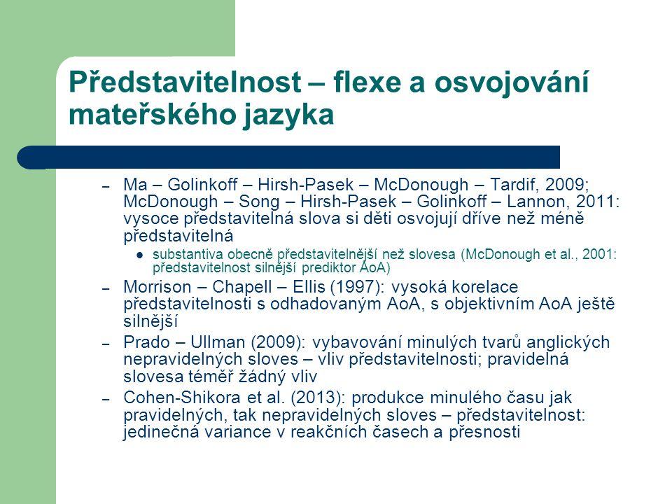 Představitelnost – flexe a osvojování mateřského jazyka – Ma – Golinkoff – Hirsh-Pasek – McDonough – Tardif, 2009; McDonough – Song – Hirsh-Pasek – Golinkoff – Lannon, 2011: vysoce představitelná slova si děti osvojují dříve než méně představitelná substantiva obecně představitelnější než slovesa (McDonough et al., 2001: představitelnost silnější prediktor AoA) – Morrison – Chapell – Ellis (1997): vysoká korelace představitelnosti s odhadovaným AoA, s objektivním AoA ještě silnější – Prado – Ullman (2009): vybavování minulých tvarů anglických nepravidelných sloves – vliv představitelnosti; pravidelná slovesa téměř žádný vliv – Cohen-Shikora et al.