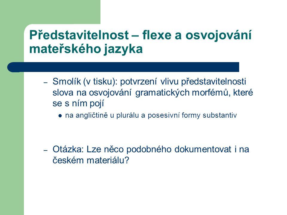 Představitelnost – flexe a osvojování mateřského jazyka – Smolík (v tisku): potvrzení vlivu představitelnosti slova na osvojování gramatických morfémů