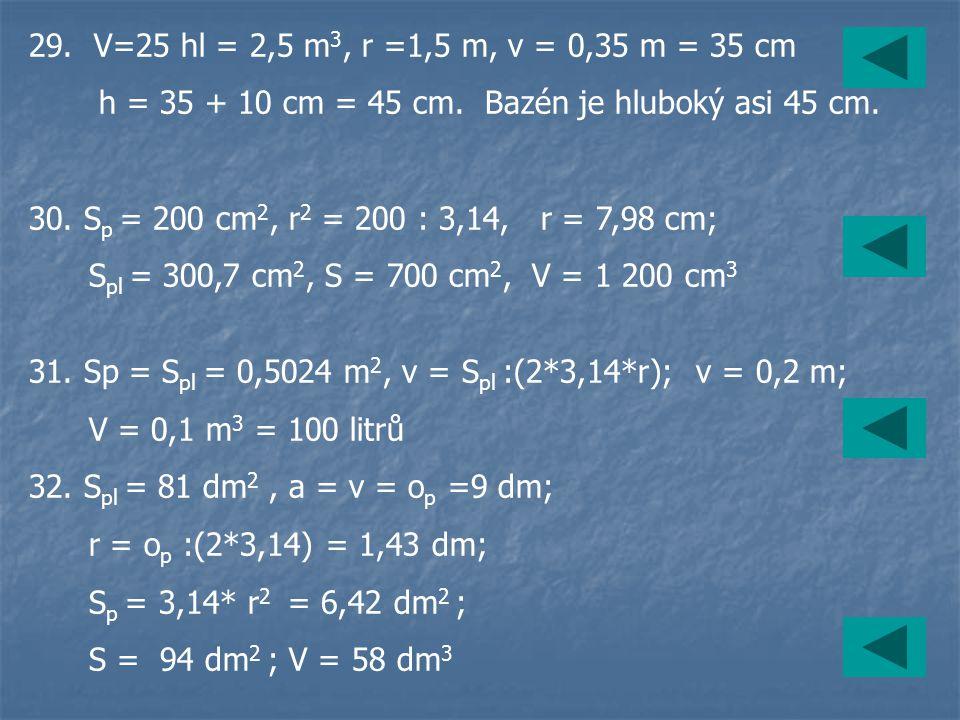 29. V=25 hl = 2,5 m 3, r =1,5 m, v = 0,35 m = 35 cm h = 35 + 10 cm = 45 cm. Bazén je hluboký asi 45 cm. 30. S p = 200 cm 2, r 2 = 200 : 3,14, r = 7,98