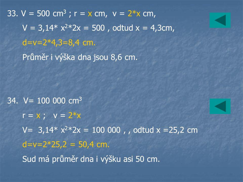 33. V = 500 cm 3 ; r = x cm, v = 2*x cm, V = 3,14* x 2 *2x = 500, odtud x = 4,3cm, d=v=2*4,3=8,4 cm. Průměr i výška dna jsou 8,6 cm. 34. V= 100 000 cm