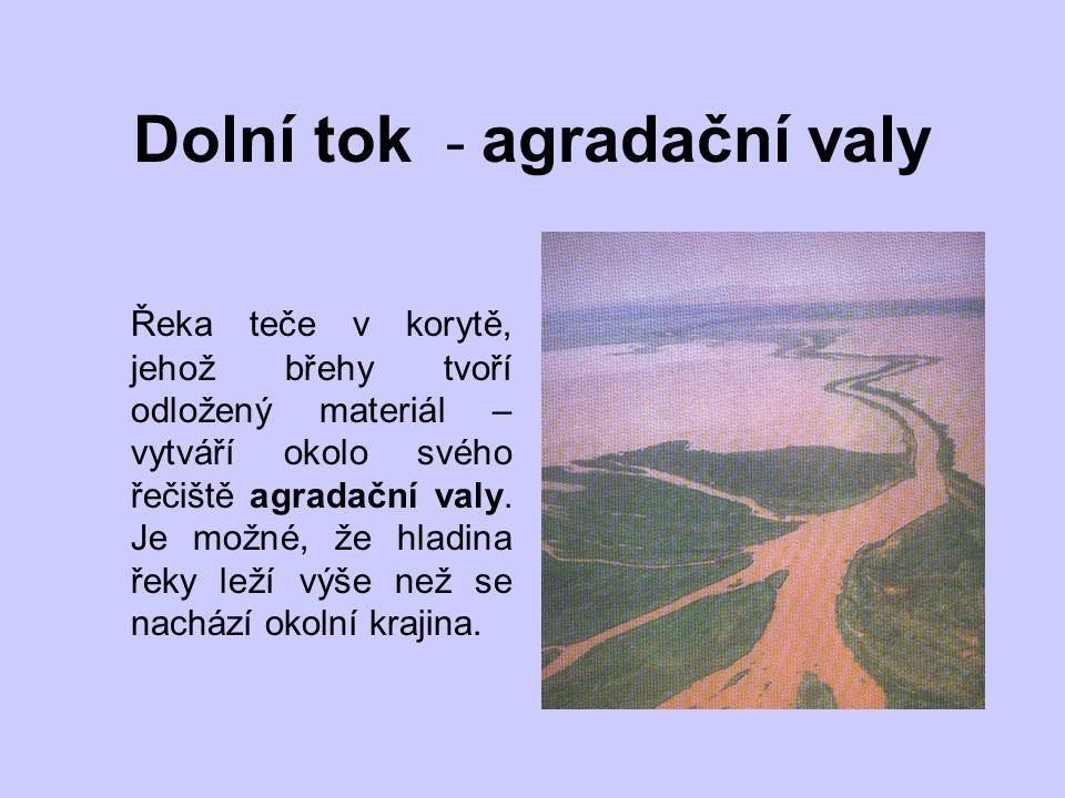 Dolní tok - agradační valy Řeka teče v korytě, jehož břehy tvoří odložený materiál – vytváří okolo svého řečiště agradační valy.