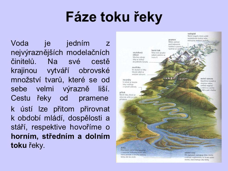 Fáze toku řeky Voda je jedním z nejvýraznějších modelačních činitelů.