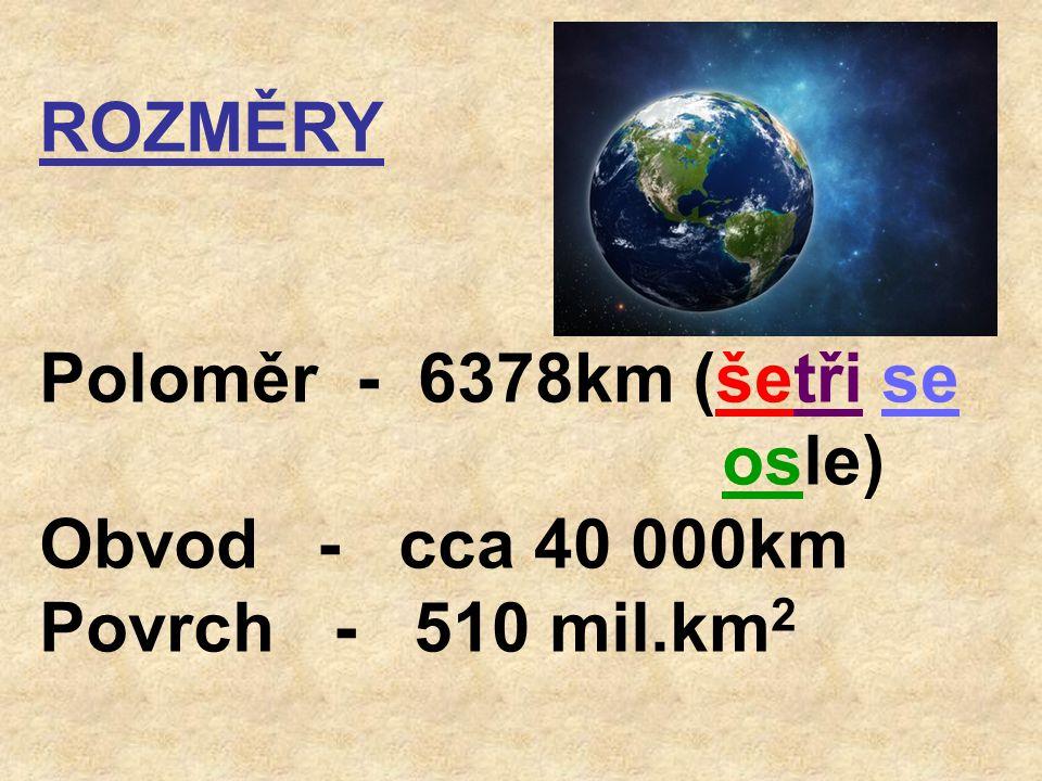 ROZMĚRY Poloměr - 6378km (šetři se osle) Obvod - cca 40 000km Povrch - 510 mil.km 2