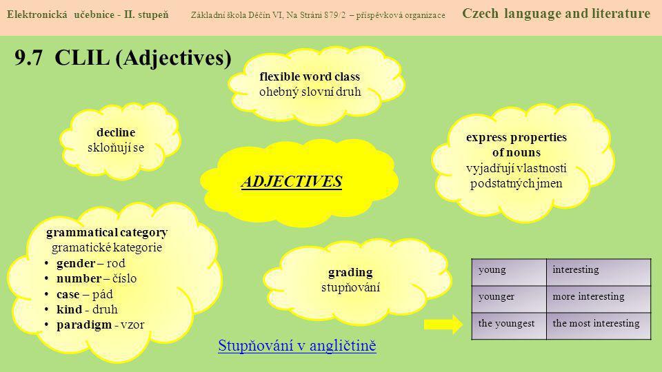 9.7 CLIL (Adjectives) Elektronická učebnice - II. stupeň Základní škola Děčín VI, Na Stráni 879/2 – příspěvková organizace Czech language and literatu