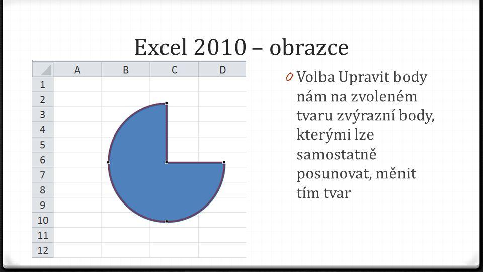 Excel 2010 – obrazce 0 Volba Upravit body nám na zvoleném tvaru zvýrazní body, kterými lze samostatně posunovat, měnit tím tvar