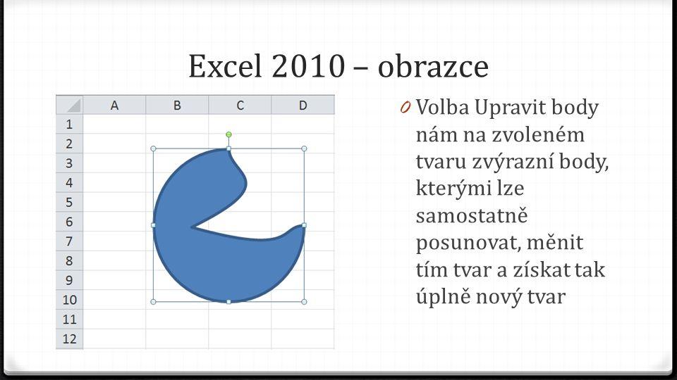 Excel 2010 – obrazce 0 Volba Upravit body nám na zvoleném tvaru zvýrazní body, kterými lze samostatně posunovat, měnit tím tvar a získat tak úplně nov