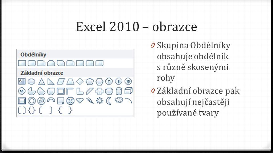Excel 2010 – obrazce 0 Skupina Obdélníky obsahuje obdélník s různě skosenými rohy 0 Základní obrazce pak obsahují nejčastěji používané tvary