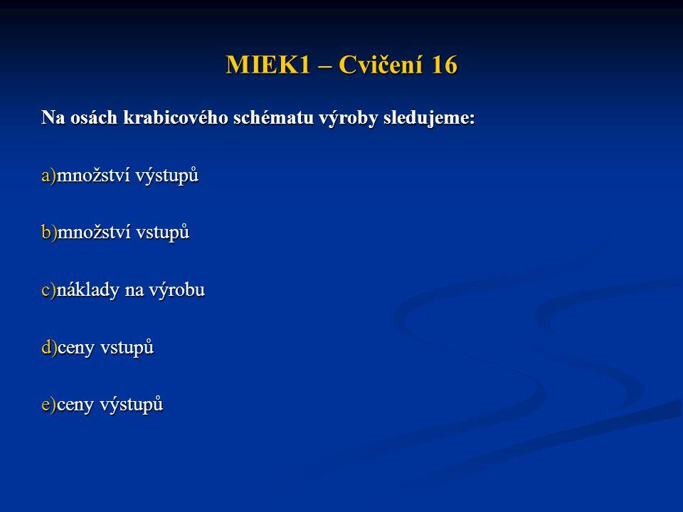 MIEK1 – Cvičení 16 Na osách krabicového schématu výroby sledujeme: a)množství výstupů b)množství vstupů c)náklady na výrobu d)ceny vstupů e)ceny výstupů