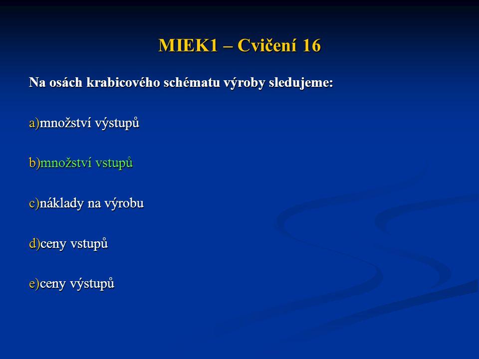 MIEK1 – Cvičení 16 Na osách krabicového schématu výroby sledujeme: a)množství výstupů b)množství vstupů c)náklady na výrobu d)ceny vstupů e)ceny výstu