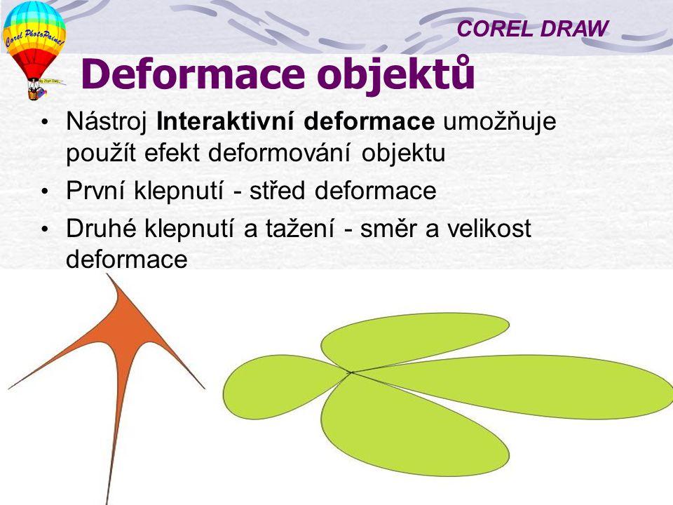 COREL DRAW 5 Přechod objektů Vytváření přechodu mezi dvěma objekty – mezi nimi vznikne sada objektů, umístěných podle osnovy a ukazujících postupnou přeměnu tvaru a barvy Vytvoříme objekty a vybarvíme je Zvolíme nástroj Interaktivní přechod Táhneme myší z jednoho objektu na druhý