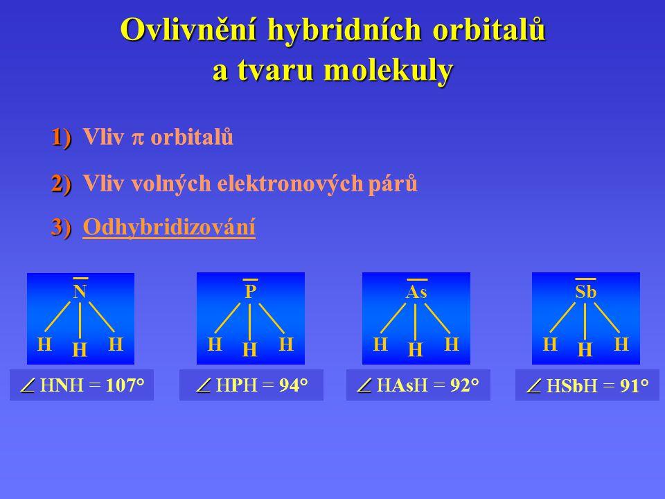 Ovlivnění hybridních orbitalů a tvaru molekuly 1) 1) Vliv  orbitalů 2) 2) Vliv volných elektronových párů 1) 1) Vliv  orbitalů 2) 2) Vliv volných elektronových párů 3) 3) Odhybridizování   HPH = 94° P H H H   HNH = 107° N H H H   HAsH = 92° As H H H   HSbH = 91° Sb H H H