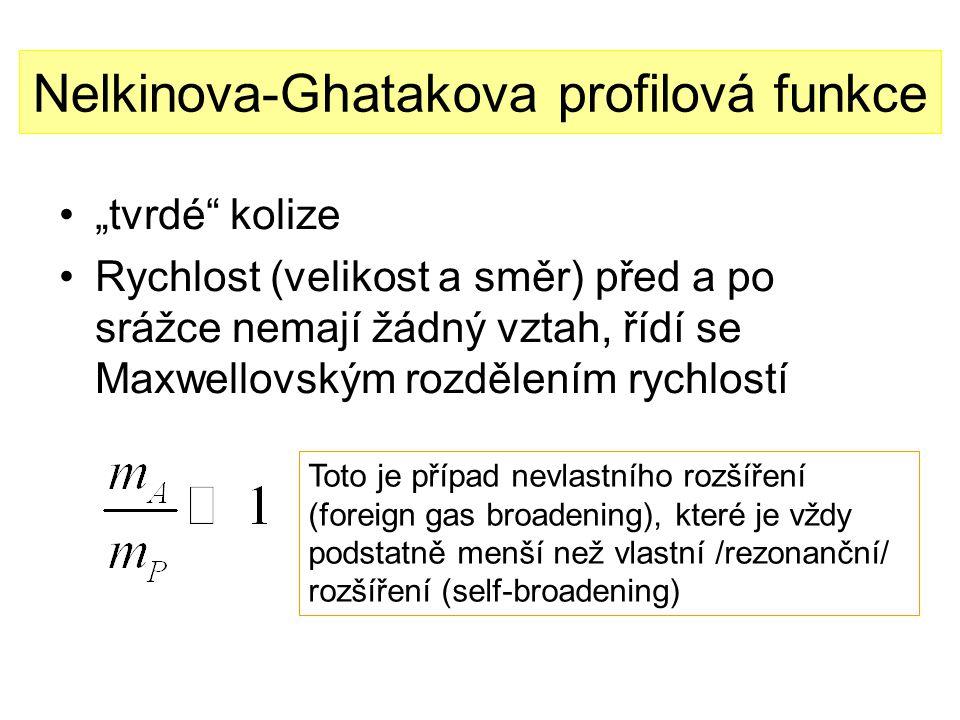 """Nelkinova-Ghatakova profilová funkce """"tvrdé kolize Rychlost (velikost a směr) před a po srážce nemají žádný vztah, řídí se Maxwellovským rozdělením rychlostí Toto je případ nevlastního rozšíření (foreign gas broadening), které je vždy podstatně menší než vlastní /rezonanční/ rozšíření (self-broadening)"""