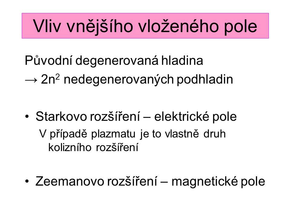 Vliv vnějšího vloženého pole Původní degenerovaná hladina → 2n 2 nedegenerovaných podhladin Starkovo rozšíření – elektrické pole V případě plazmatu je to vlastně druh kolizního rozšíření Zeemanovo rozšíření – magnetické pole