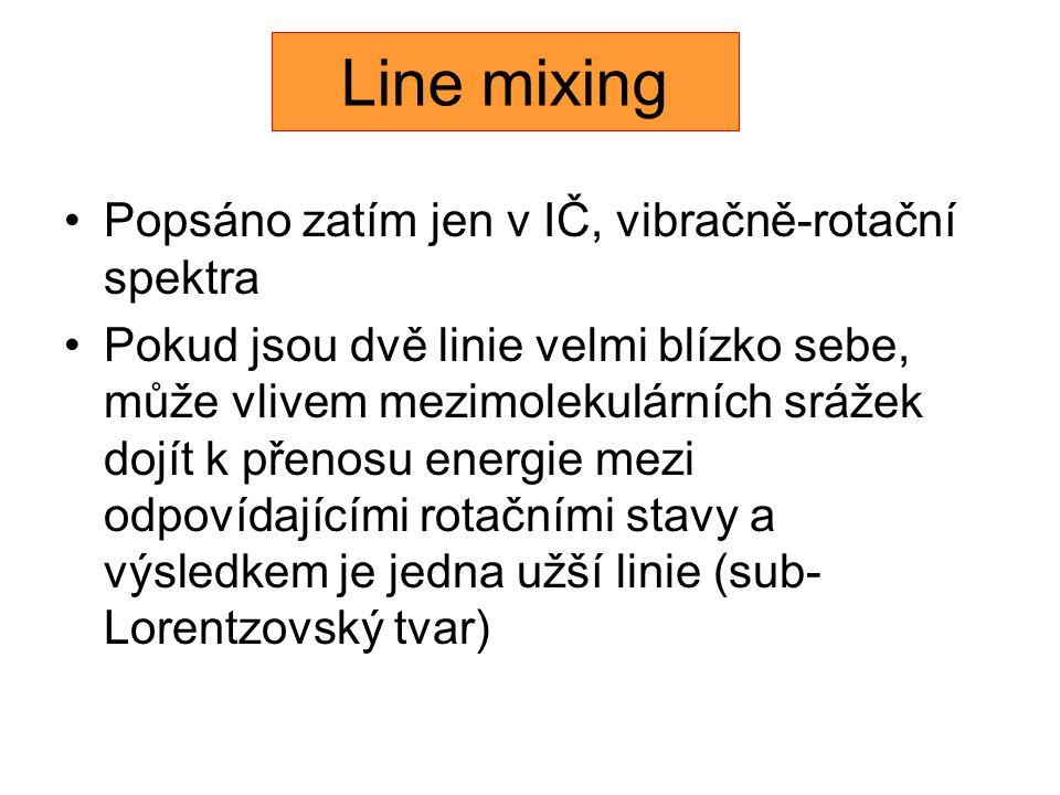 Line mixing Popsáno zatím jen v IČ, vibračně-rotační spektra Pokud jsou dvě linie velmi blízko sebe, může vlivem mezimolekulárních srážek dojít k přenosu energie mezi odpovídajícími rotačními stavy a výsledkem je jedna užší linie (sub- Lorentzovský tvar)